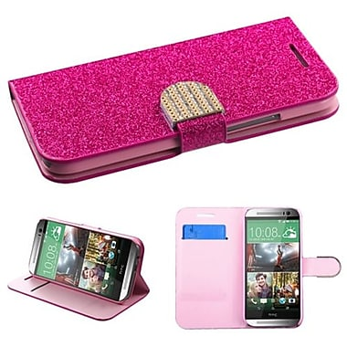 Insten MyJacket Wallet For HTC-One M8, Hot Pink Glittering (1920997)