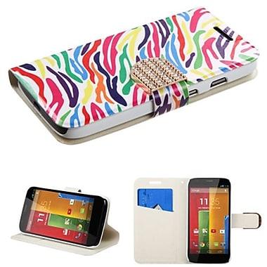 Insten® MyJacket Wallet For Motorola G, Colorful Zebra