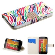 Insten® MyJacket Wallet For Motorola G, Colorful Zebra