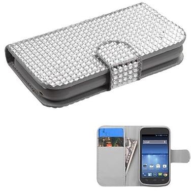 Insten® Book-Style MyJacket Wallet For ZTE Z730 Concord II, Silver Diamonds