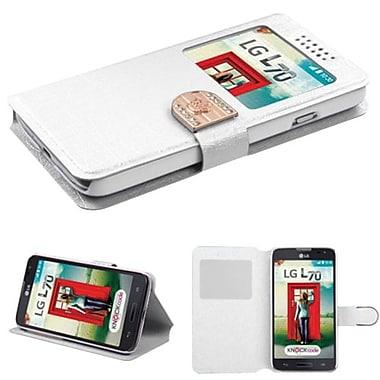 Insten Book-Style MyJacket Wallet For LG MS323/VS450PP, White Embossed (1928530)