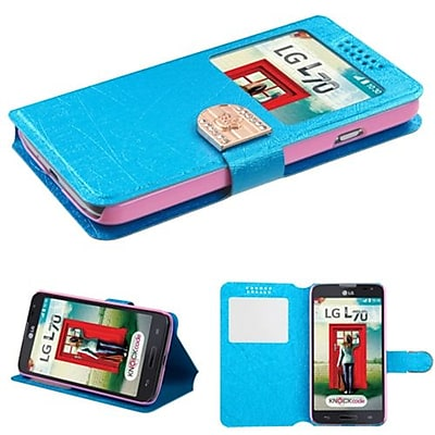 Insten® Book-Style MyJacket Wallet For LG MS323/VS450PP; Blue Embossed