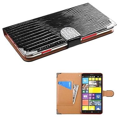 Insten® MyJacket Wallet With Metal Diamonds Buckle For Nokia Lumia 1320, Black Crocodile Skin