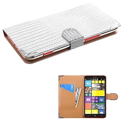 Insten® MyJacket Wallet With Metal Diamonds Buckle & Tray For Nokia 1320; White Crocodile Skin