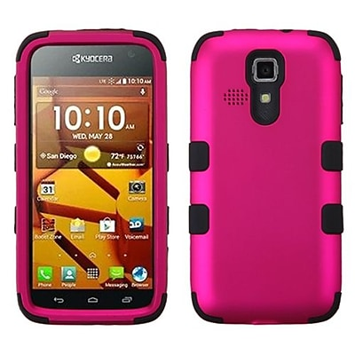 Insten® TUFF Hybrid Phone Protector Cover For Kyocera C6730/C6530; Titanium Solid Hot-Pink/Black