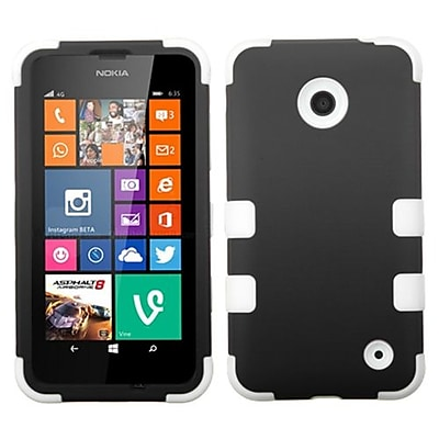 Insten® Rubberized TUFF Hybrid Phone Protector Cover For Nokia Lumia 630/635; Black/Solid White