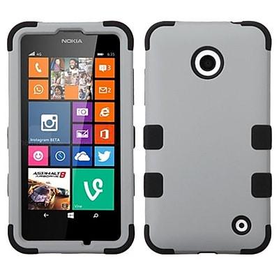 Insten® Rubberized TUFF Hybrid Phone Protector Cover For Nokia Lumia 630/635; Gray/Black
