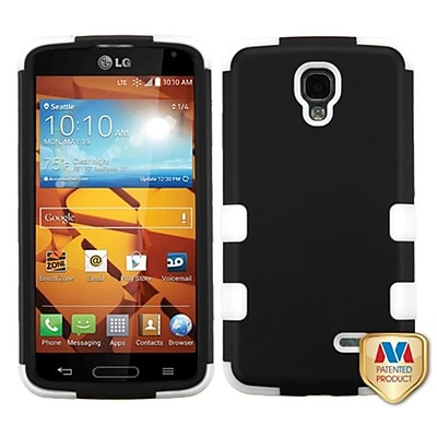 Insten® TUFF Hybrid Phone Protector Cover For LG LS740 Volt; Black/Solid White