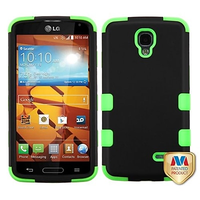 Insten® TUFF Hybrid Phone Protector Cover For LG LS740 Volt; Black/Electric Green