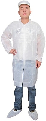 Keystone LC0-WE-NW-SM Single Collar White Disposable Lab Coat, Small