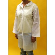Keystone LC0-WO-NW-SM Single Collar White Disposable Lab Coat, Small