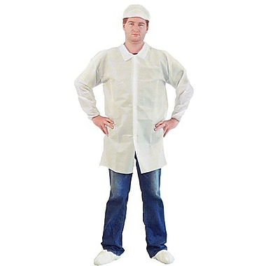 Keystone LC0-WE-KG-MD Single Collar White Disposable Lab Coat, Medium