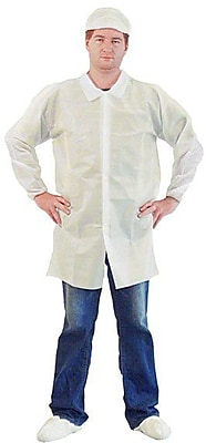 Keystone LC0-WE-NW-HD-LG Single Collar White Disposable Lab Coat, Large, 30/Box