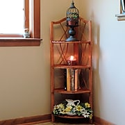 "Lavish Home 43"" x 15"" Wood Folding Corner Display Shelf"