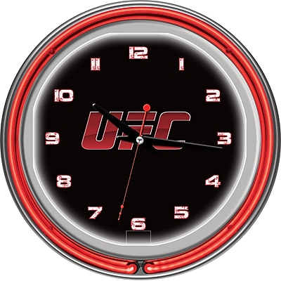 UFC Glass Chrome Double Ring Neon Clock, V2