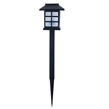 Pure Garden Outdoor Solar Lantern Landscaping Lights, Set of 6, Black
