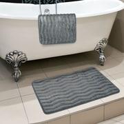 "Lavish Home 20.2"" x 32.2"" Microfiber Foam & Polyurethane Bath Mat Set, Platinum"