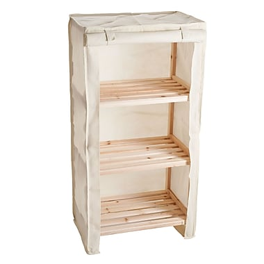 Lavish Home 3-Tier Wood Shelf with Removable Cover, Beige