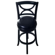 Lavish Home Swivel Wood Stool with Back, Black