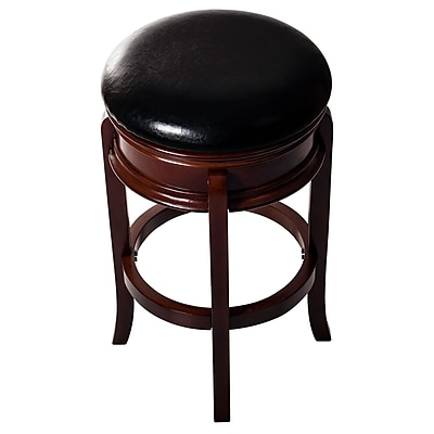 Lavish Home Ornate Swivel Wood Stool, Dark Brown