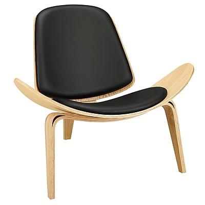 Modway Arch EEI-1050-OAK-BLK Vinyl/Wood Lounge Chair, Oak Black