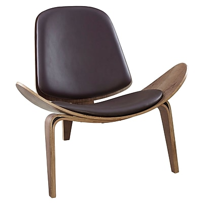 Modway Arch EEI-1050-WAL-BRN Vinyl/Wood Lounge Chair, Walnut Brown
