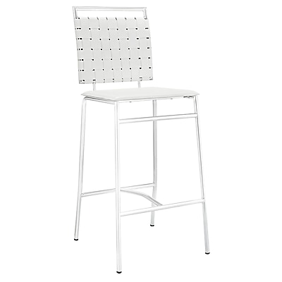 Modway Fuse 42.5'' Modern Floor Glides Leather Bar Stool, White (848387012991)