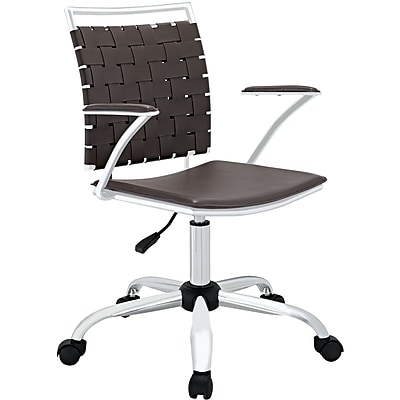 Modway Fuse Metal Executive Office Chair, Fixed Arms, Brown (848387013042)