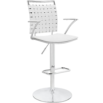Modway Fuse 47.5'' Modern Adjustable Height Leather Bar Stool, White (848387013233)