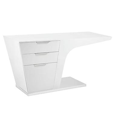 Modway EEI-1188-WHI Modern MDF/Steel Workstations Desk, White