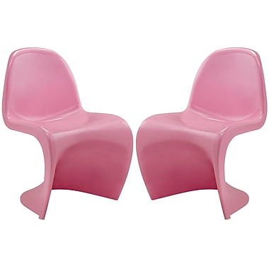 Modway Slither EEI-1254 Set of 2 Plastic Dining Chairs, Pink