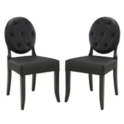 Modway Button EEI-1279-BLK Set of 2 Wood Dining Chairs, Black