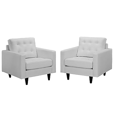 Modway Empress EEI-1282-WHI Set of 2 Leather/Wood Armchair, White