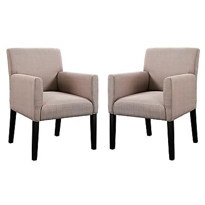 Modway Chloe EEI-1299-BEI Set of 2 Wood/Fabric Armchair, Beige