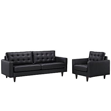 Modway Empress EEI-1311-BLK 2 Piece Leather Sofa Set, Black