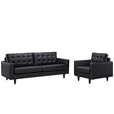 Modway Empress EEI-1311-BLK 2 Piece Leather Sofa Set, Black