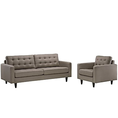 Modway Empress EEI-1313-GRA 2 Piece Fabric Sofa Set, Granite