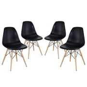 Modway Pyramid EEI-1316-BLK Set of 4 Wood Dining Chairs, Black