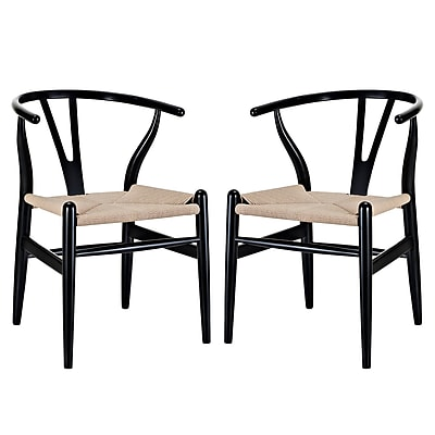 Modway Amish EEI-1319 Set of 2 Wood Dining Chairs, Black