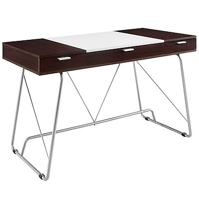 Modway 47'' Rectangular Wood/Veneer Contemporary Writing Desk, Cherry (848387027278)