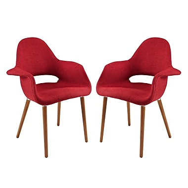 Modway Taupe EEI-1329 Set of 2 Wood Dining Chairs, Red
