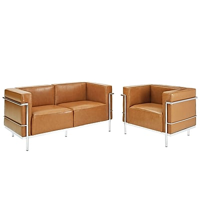 Modway Charles Grande EEI-1332-TAN Set of 2 Steel/Leather Armchair and Loveseat, Tan