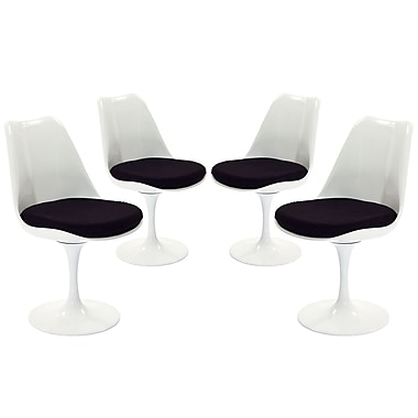Modway Lippa EEI-1342 Set of 4 Plastic Dining Side Chairs, Black