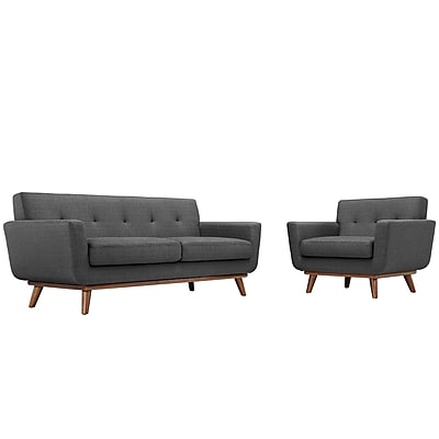 Modway Engage EEI-1346-DOR Set of 2 Wood/Fabric Armchair and Loveseat, Gray