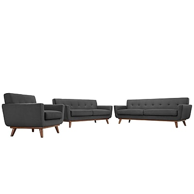 Modway Engage EEI-1349-DOR 3 Piece Polyester Sofa Set, Gray