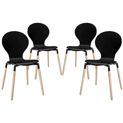 Modway Path EEI-1369 Set of 4 Wood Dining Chairs, Black