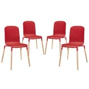 Modway Stack Wood EEI-1373 Set of 4 Wood Dining Chairs, Red