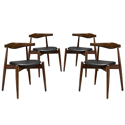 Modway Stalwart EEI-1378 Set of 4 Wood Dining Side Chairs, Black