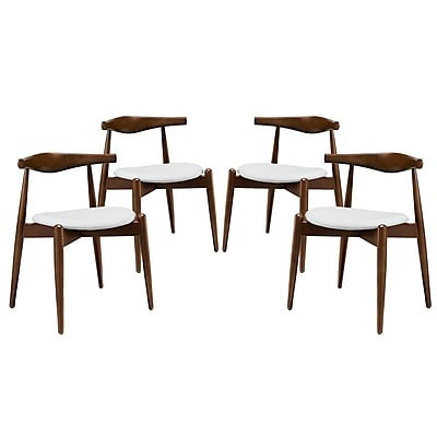 Modway Stalwart EEI-1378 Set of 4 Wood Dining Side Chairs, White