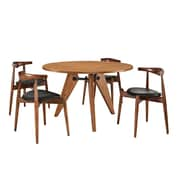 Modway Stalwart EEI-1379 Set of 5 Wood Dining Chairs and Table, Black
